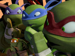 Nickelodeon-Cast-Of-Teenage-Mutant-Ninja-Turtles-Leonardo-Donatello-Michelangelo-Raphael-CGI-Animation-Nicktoon-Shh-Group-Pose-TMNT
