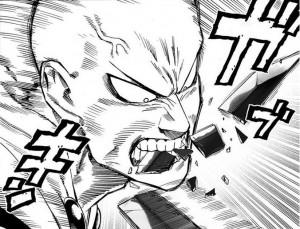 Saitama bites through a sword.