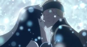 Naruto and Hinata's first kiss.