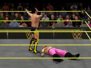 Hideo Itami and Tyler Breeze in WWE 2K16.