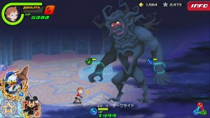 A boss fight in Kingdom Hearts Unchained X.
